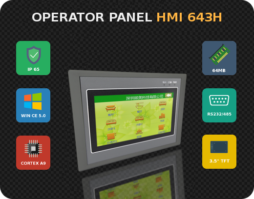 Control panel HMI operator panel Windows CE Modbus