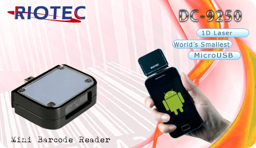 Mini czytnik Barcode 1D RIOTEC DC-9250 MicroUSB  Skaner 1D  Poręczny Kompatybilny Android mobilator.pl New Portable Devices Mobilne Skanery kodów kreskowych MINI OTG