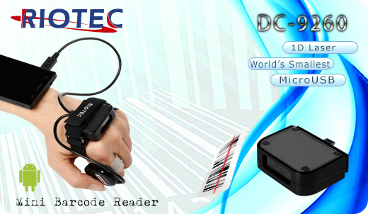 Mini czytnik Barcode 1D RIOTEC DC-9260 MicroUSB  Skaner 1D  Poręczny Kompatybilny Android mobilator.pl New Portable Devices Mobilne Skanery kodów kreskowych MINI OTG